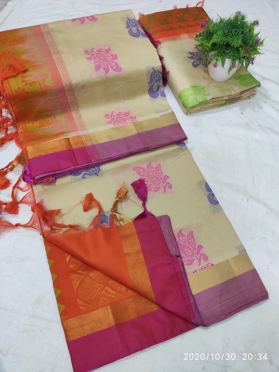 Tripura Silk Saree with Double Colour Butta and Rich Pallu