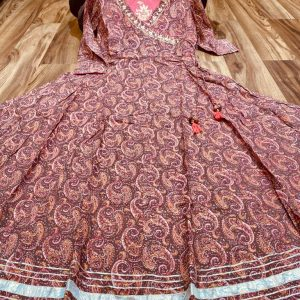 Premium Cotton Kalamkari Print Angarakha Gown