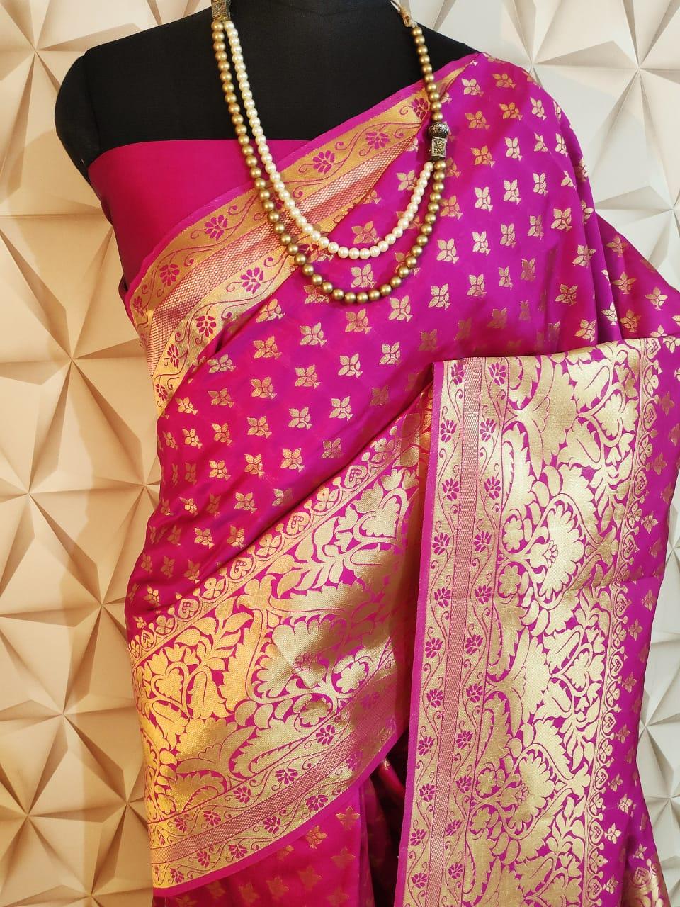 Banarasi Jaquard golden Jari butta all over