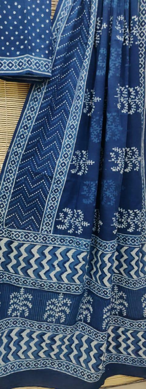 Pure Cotton Bagru Hand block Print Saree