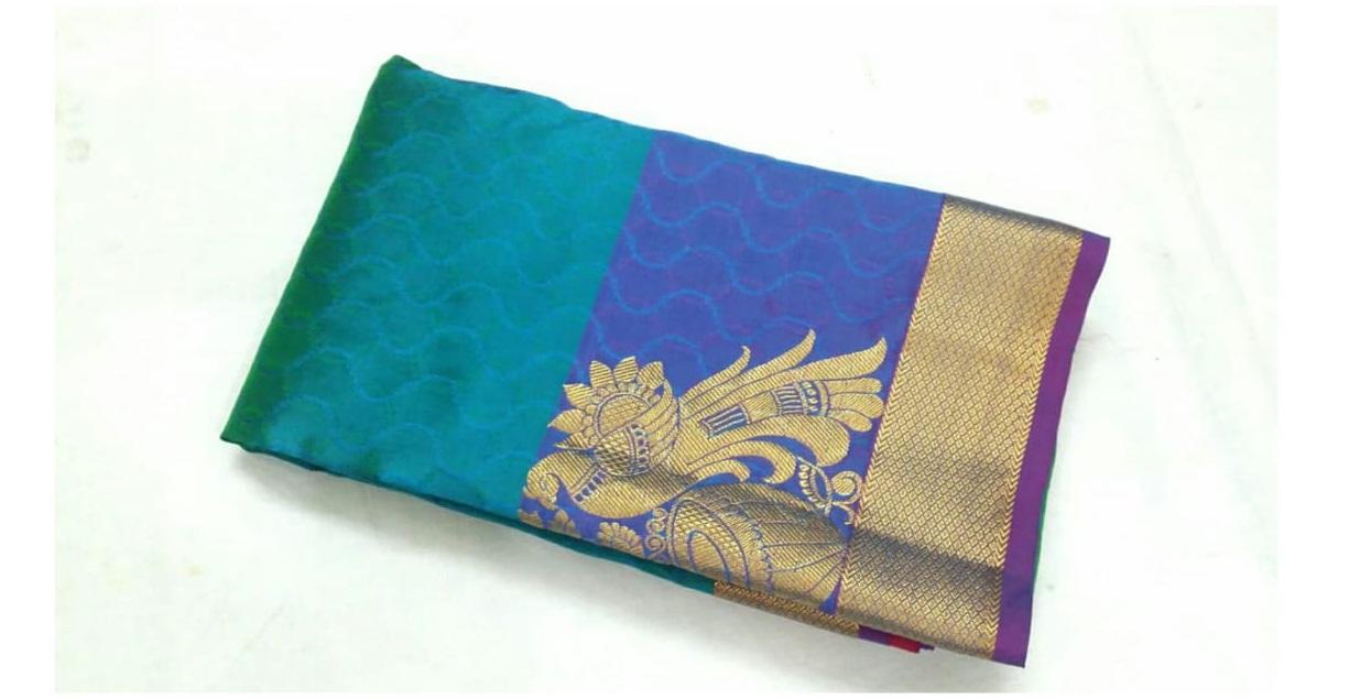 Kanchivaram Pure Silk Saree with Peacock Butta -Blue
