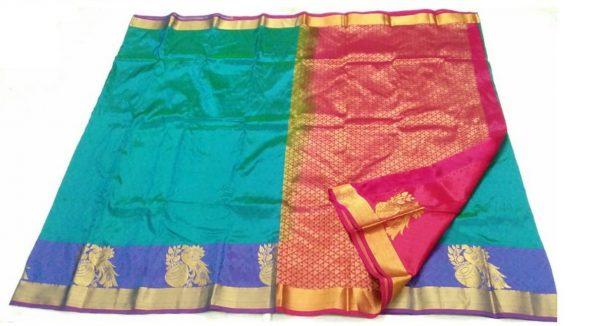 Kanchivaram Pure Silk Saree with Peacock Butta