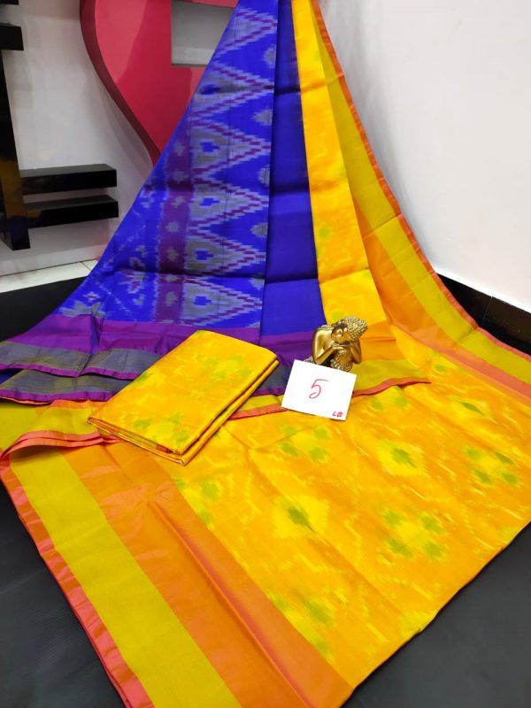 Pochampalli Semi Silk Saree - Yellow