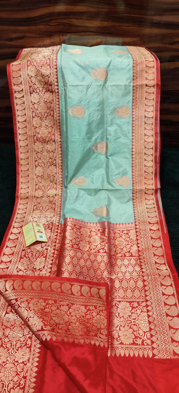 Banarasi Kataan Pure Silk Saree - Cyan Blue
